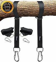 EKKONG schaukel befestigung, 1 Paar Swing Hanging Gurt Kit Premium Schaukel Hängematte Hängesessel Befestigungs-Set aufhängeset für schaukel garten und hängematten 150*5cm, schwarze