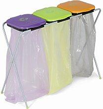Eko 3–Mülltrennsystem Gestell aus verzinktem Stahl mit farbigen Deckeln aus Kunststoff
