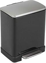 EKO E-Cube 12 L Tritt-Mülleimer, Metall, matt