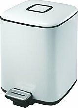 EKO Regent Tritt-Mülleimer 6 L, Metall, weiß, 21