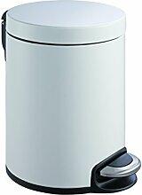 EKO Serene Tritt-Mülleimer 5 L, Metall, weiß,