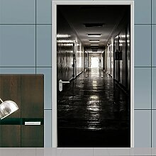 EKSDG 3D Türfolie Wandaufkleber Dunkler Korridor