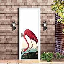 EKSDG 3D Türfolie Wandaufkleber Flamingoblaue