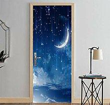 EKSDG 3D Türfolie Wandaufkleber Mond Sternenklare