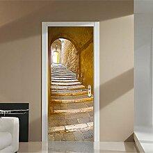 EKSDG 3D Türfolie Wandaufkleber Tunneltreppe