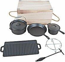 El Fuego Dutch Oven Set 7-teilig, schwarz