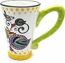 el & groove Tasse groß,weiß, Vogel Motiv | Kaffeetasse/Teetasse aus Keramik (Ton) | die perfekte Geschenkidee