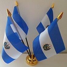 El Salvador Salvadorian 4Flagge Desktop Tisch mit Gold Boden