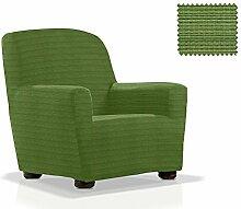 Elastische Sessel-Husse Moraig Größe 1 Sitzer (Von 70 bis 110 cm), Farbe Grün (Mehrere Farben verfügbar)