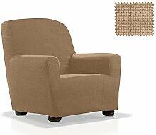 Elastische Sessel-Husse Portitxol Größe 1 Sitzer (Von 70 bis 110 cm), Farbe Sand (Mehrere Farben verfügbar)