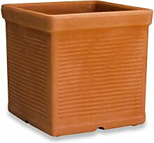 ELBI Square Resin vase with Lines Texture cm 42