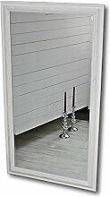 elbmöbel 132 x 72cm Wandspiegel groß in weiß mit schlichtem Holz-Rahmen