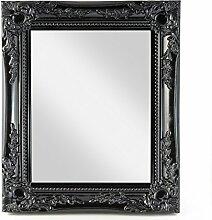 elbmöbel 32x27x3cm rechteckiger Wand-Spiegel, handgefertigter Vintage-Antik-Rahmen aus Holz, schwarz, inkl. Befestigung
