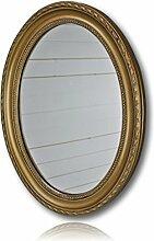 elbmöbel 37x47cm Wandspiegel Oval in Gold Antik