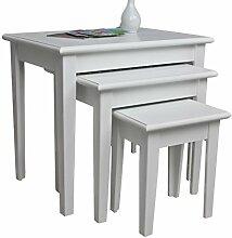 elbmöbel 3x Tisch Beistelltisch antik weiß