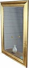elbmöbel 82 x 62cm Wandspiegel rechteckig in gold antik mit Patina Spiegel schlicht aus Holz mit Facettenschliff | im Landhausstil als Badspiegel | Schminkspiegel bzw. Frisierspiegel für das Landhaus