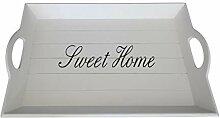elbmöbel Holz-Tablett in weiß rechteckig, Sweet