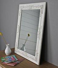 elbmöbel m0911whi Wandspiegel mit Holz-Rahmen und barock Verzierungen 62 x 52cm, weiß