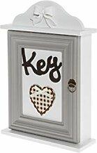 elbmöbel Schlüsselkasten Holz weiß mit Deko