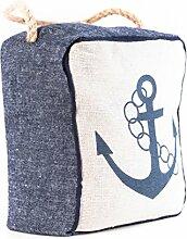 elbmöbel Türstopper Anker mit Kordel Leinen-Struktur Maritim 18 x 15 cm Doorstop Navy blue