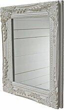 elbmöbel Wand-Spiegel weiß 32x27x3cm rechteckiger handgefertigter Vintage-Antik-Rahmen aus Holz, inkl. Befestigung