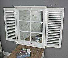 elbmöbel Wandspiegel in weiß aus Holz mit Fensterladen Lamellen