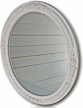 elbmöbel Wandspiegel Oval in weiß antik mit