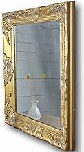 elbmöbel Wandspiegel rechteckig in gold antik mit Patina 62 x 52cm | Spiegel schlicht barock aus Holz mit Facettenschliff | im Landhausstil als Badspiegel | Schminkspiegel bzw. Frisierspiegel für das Landhaus