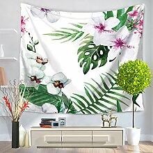 elchom Blumen und Pflanzen Muster Vlies Weben Yoga Matte Decke Tischdecke Bezug Rechteck indischen Mandala Boho Strandtuch Überwurf Wandbehang Tapisserie 149,9x 129,5cm