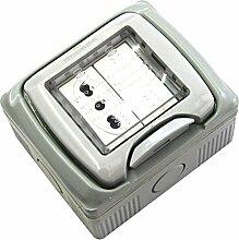 Electraline 60458 Schutzdose mit Steckdose für 2