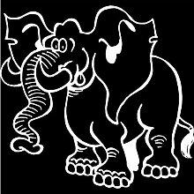 Elefant Aufkleber 001, 50 cm, weiss