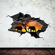 Elefant ausgebrochenes Cave Dschungel 3D Wandkunst Aufkleber Jungen Mädchen Wandgemälde Aufkleber Druck NEU 3