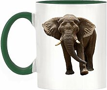 Elefant Bild Design zweifarbige Becher mit Dunkelgrün Griff & Innen