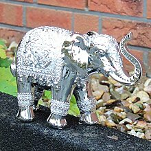 Elefant Deko Figur Silber Skulptur 28cm