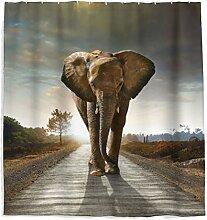 Elefant Duschvorhang Sonnenuntergang Wald