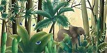 Elefant e Pflanze Kokosnussbaum Tapete 3D Vlies