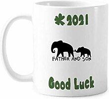 Elefant Eltern Kinder Good Luck 2021 Tasse Keramik