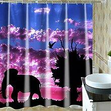Elefant im Sonnenuntergang Duschvorhang Polyester
