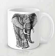 Elefant Kaffeebecher Funny Einzigartige Tier Elefant Muster Kaffee Becher 11OZ Keramik Kaffee Becher Great Novelty Geschenk Weihnachten Geschenke für Männer, Frauen, Oma, Opa, Freunde, Boss und Lehrer