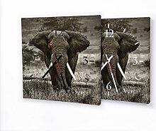 Elefant - Lautlose Wanduhr mit Fotodruck auf Leinwand Keilrahmen | geräuschlos kein Ticken Fotouhr Bilderuhr Motivuhr Küchenuhr modern hochwertig Quarz | Variante:30 cm x 30 cm mit weißen Zeigern - GERÄUSCHLOS