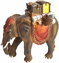 Elefant mit Gepäck aus Polyresin, handbemalt