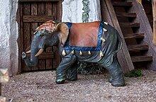 Elefant mit Gepäck aus Polyresin, Krippenfigur.
