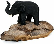 Elefant Mutter Kind Baby Holz Unikat Figur
