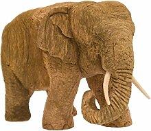 Elefant, Rüssel unten, eingerollt, Teakholz,