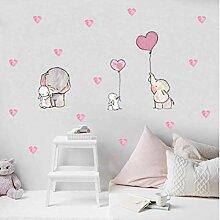 Elefant und Kaninchen Wandaufkleber Cartoon Air