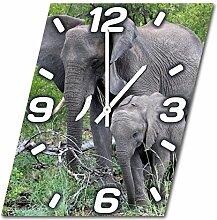 Elefanten, Design Wanduhr aus Alu Dibond zum Aufhängen, 48 cm Durchmesser, schmale Zeiger, schöne und moderne Wand Dekoration, mit qualitativem Quartz Uhrwerk