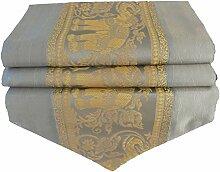 Elefanten grau silber Tischläufer Tischdecke für Küche Wohnzimmer Thai Silk Abmessungen 200 cm x 30 cm
