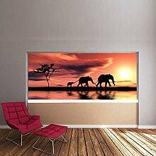 Elefanten Sonnenuntergang Wandbild Dschungel Tier Foto-Tapete Kinder Schlafzimmer Haus Dekor Erhältlich in 8 Größen Riesig Digital