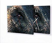 Elefantenauge - Lautlose Wanduhr mit Fotodruck auf Leinwand Keilrahmen | geräuschlos kein Ticken Fotouhr Bilderuhr Motivuhr Küchenuhr modern hochwertig Quarz | Variante:30 cm x 30 cm mit schwarzen Zeigern - GERÄUSCHLOS