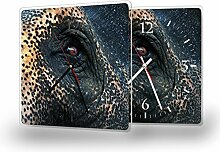 Elefantenauge - Moderne Wanduhr mit Fotodruck auf Polycarbonat   Fotouhr Bilderuhr Motivuhr Küchenuhr modern hochwertig Quarz, Variante:30 cm x 30 cm mit schwarzen Zeigern - GERÄUSCHLOS